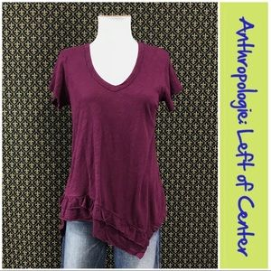 "Anthro ""Ruffled Hem V-Neck Tee"" by Left of Center"